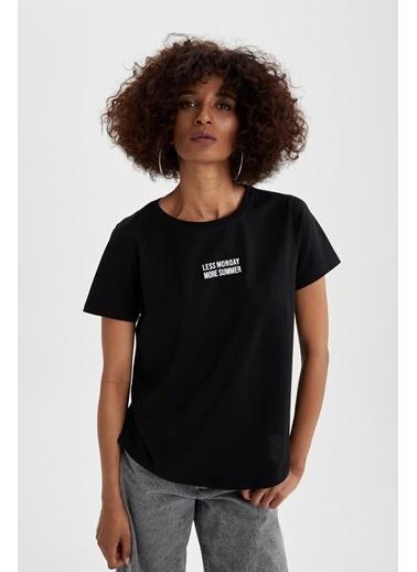 DeFacto Regular Fit Slogan Baskılı T-shirt Siyah